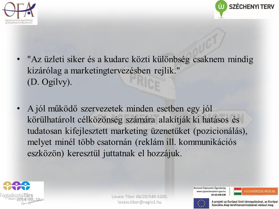 A piac szegmentálása A célcsoport szokása alapján Motiváció alapján A célcsoport tipológia alapján 2014.