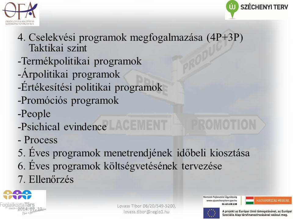 4. Cselekvési programok megfogalmazása (4P+3P) Taktikai szint -Termékpolitikai programok -Árpolitikai programok -Értékesítési politikai programok -Pro