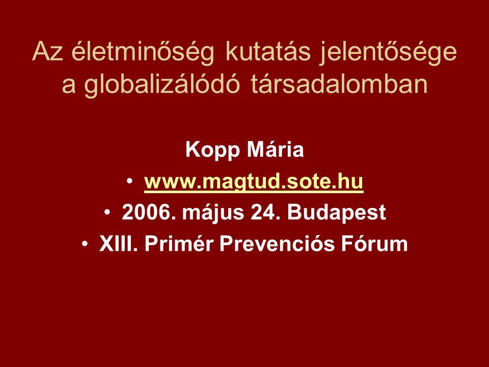Az életminőség kutatás jelentősége a globalizálódó társadalomban Kopp Mária www.magtud.sote.hu 2006.