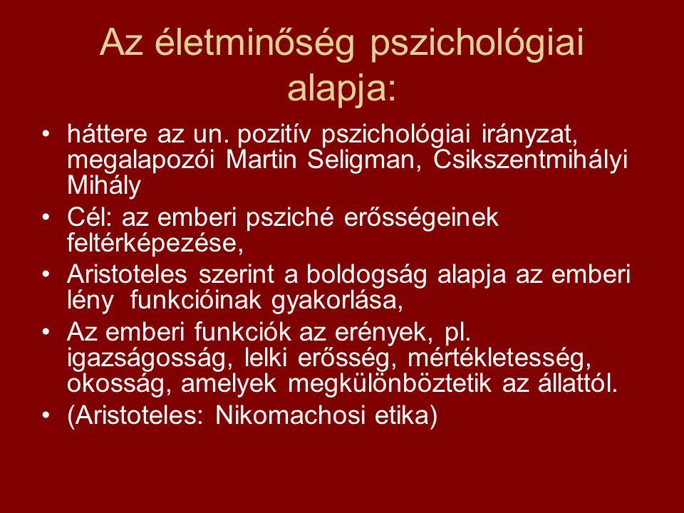 Az életminőség pszichológiai alapja: háttere az un.