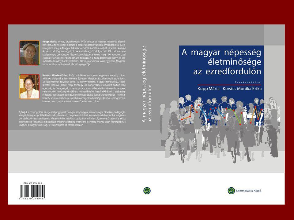 Módszertan életkor, nem, régiók településnagyság A Hungarostudy felmérések a magyar népességet életkor, nem, régiók és településnagyság szerint képviselték 16 illetve 18 év felett 1988: 20.902 személy 1995: 12.463 személy 2002: 12.640 személy Több mint 300 kérdéscsoport