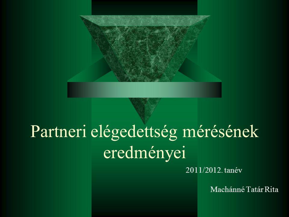 Partneri elégedettség mérésének eredményei 2011/2012. tanév Machánné Tatár Rita