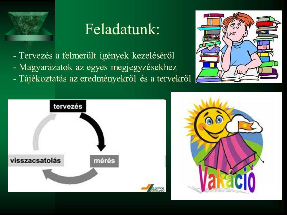 Feladatunk: - Tervezés a felmerült igények kezeléséről - Magyarázatok az egyes megjegyzésekhez - Tájékoztatás az eredményekről és a tervekről