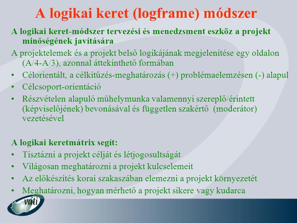 A logikai keret (logframe) módszer A logikai keret-módszer tervezési és menedzsment eszköz a projekt minőségének javítására A projektelemek és a proje