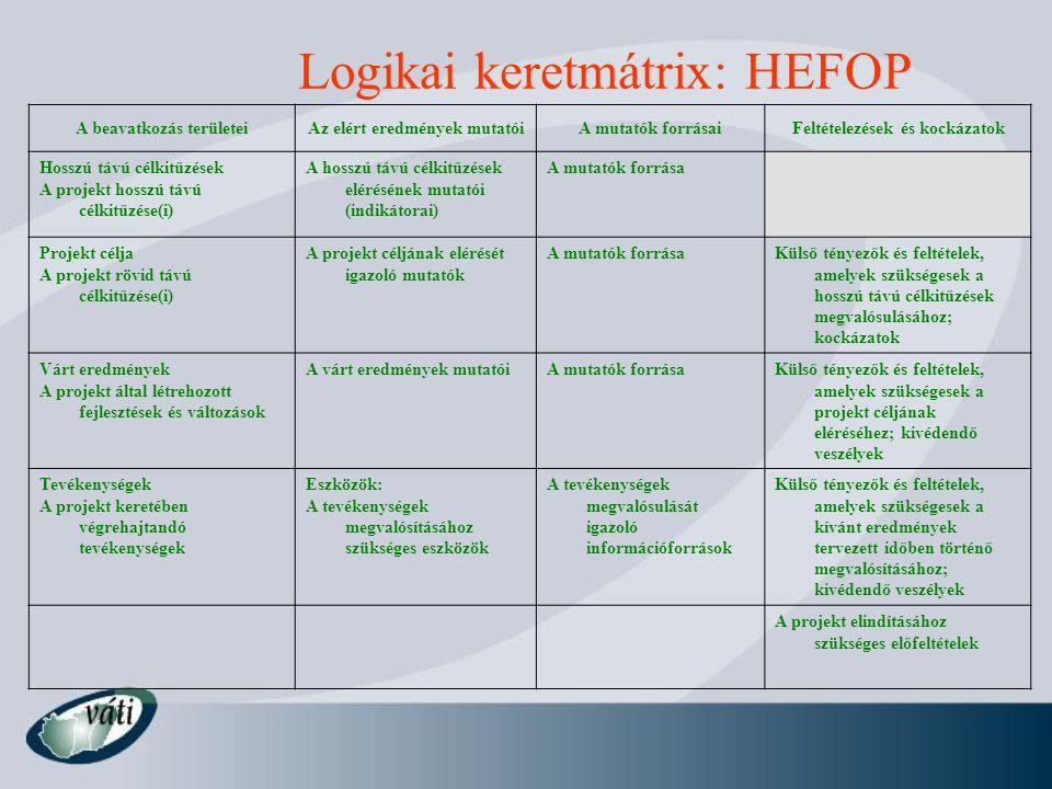 Logikai keretmátrix: HEFOP A beavatkozás területeiAz elért eredmények mutatóiA mutatók forrásaiFeltételezések és kockázatok Hosszú távú célkitűzések A