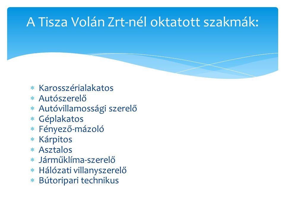  Karosszérialakatos  Autószerelő  Autóvillamossági szerelő  Géplakatos  Fényező-mázoló  Kárpitos  Asztalos  Járműklíma-szerelő  Hálózati villanyszerelő  Bútoripari technikus A Tisza Volán Zrt-nél oktatott szakmák: