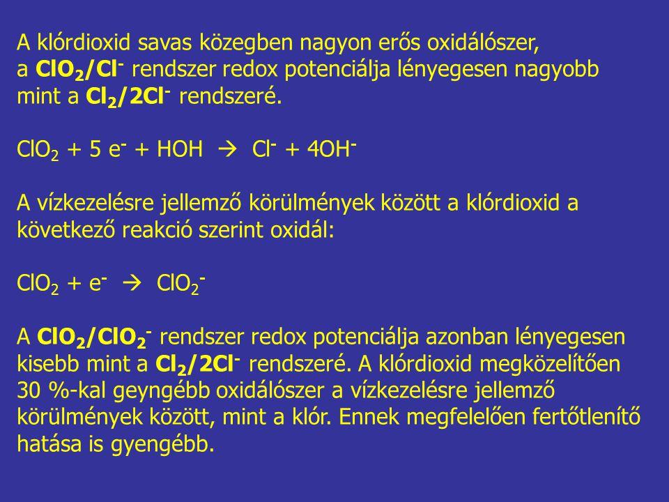 A klórdioxid savas közegben nagyon erős oxidálószer, a ClO 2 /Cl - rendszer redox potenciálja lényegesen nagyobb mint a Cl 2 /2Cl - rendszeré. ClO 2 +