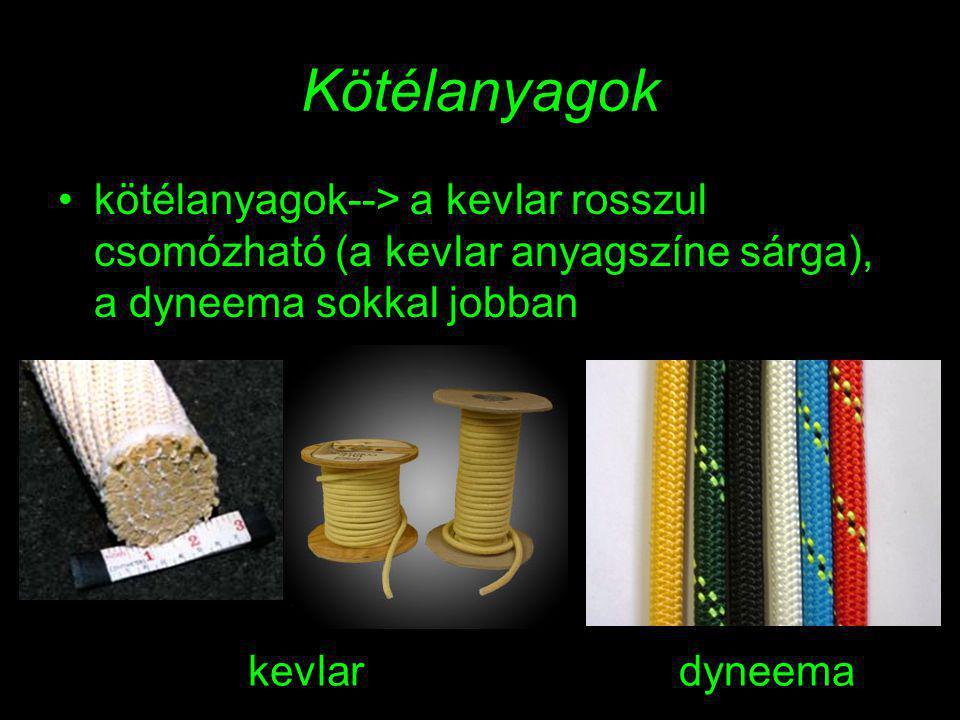 Kötélanyagok kötélanyagok--> a kevlar rosszul csomózható (a kevlar anyagszíne sárga), a dyneema sokkal jobban kevlardyneema