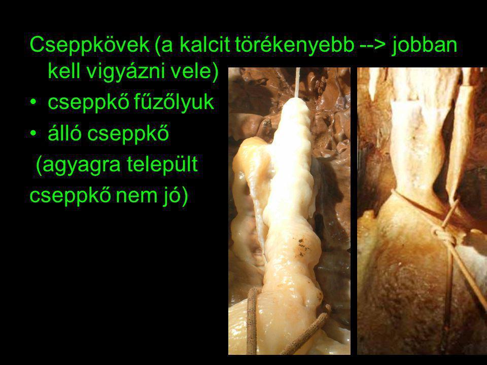 Cseppkövek (a kalcit törékenyebb --> jobban kell vigyázni vele) cseppkő fűzőlyuk álló cseppkő (agyagra települt cseppkő nem jó)