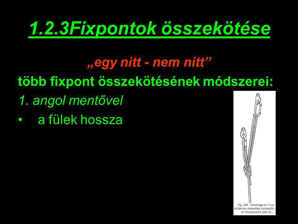 """1.2.3Fixpontok összekötése """"egy nitt - nem nitt"""" több fixpont összekötésének módszerei: 1. angol mentővel a fülek hossza"""