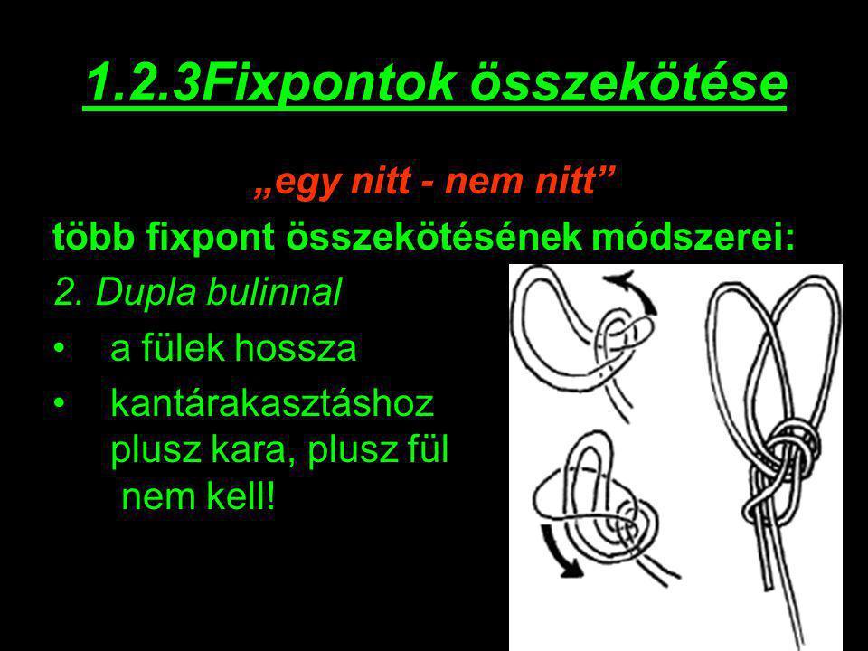 """1.2.3Fixpontok összekötése """"egy nitt - nem nitt"""" több fixpont összekötésének módszerei: 2. Dupla bulinnal a fülek hossza kantárakasztáshoz plusz kara,"""