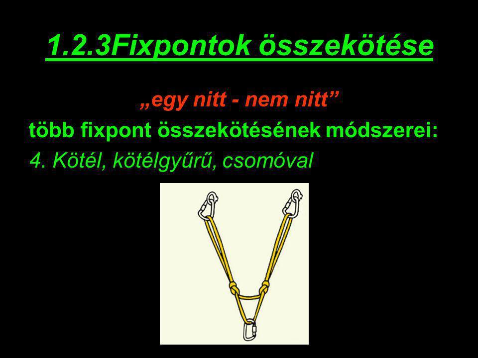 """1.2.3Fixpontok összekötése """"egy nitt - nem nitt"""" több fixpont összekötésének módszerei: 4. Kötél, kötélgyűrű, csomóval"""