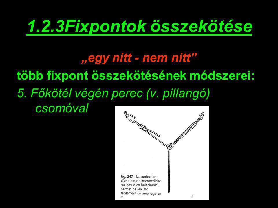 """1.2.3Fixpontok összekötése """"egy nitt - nem nitt"""" több fixpont összekötésének módszerei: 5. Főkötél végén perec (v. pillangó) csomóval"""