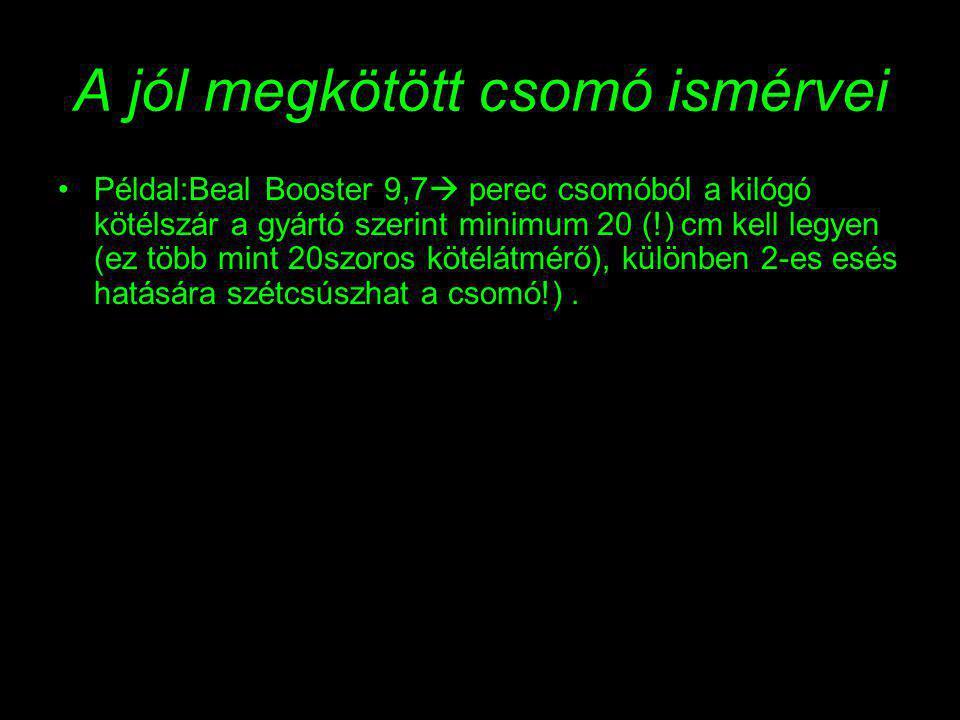 A jól megkötött csomó ismérvei Példal:Beal Booster 9,7  perec csomóból a kilógó kötélszár a gyártó szerint minimum 20 (!) cm kell legyen (ez több mint 20szoros kötélátmérő), különben 2-es esés hatására szétcsúszhat a csomó!).