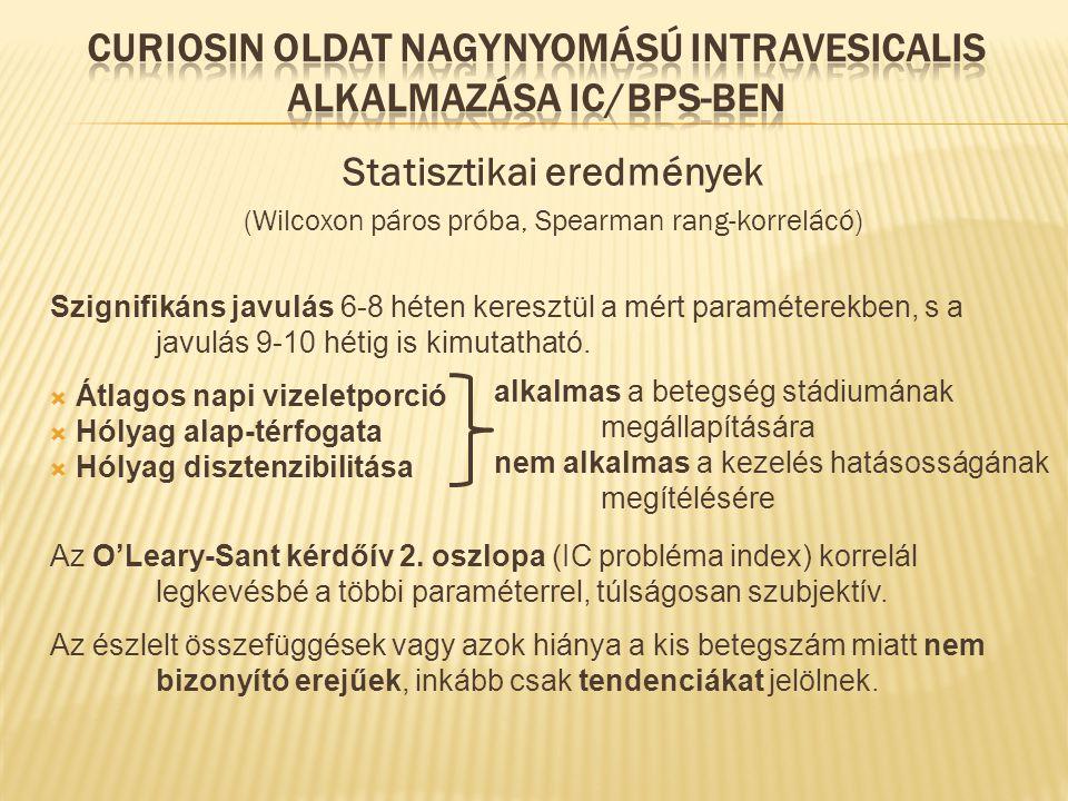 Statisztikai eredmények (Wilcoxon páros próba, Spearman rang-korrelácó) Szignifikáns javulás 6-8 héten keresztül a mért paraméterekben, s a javulás 9-