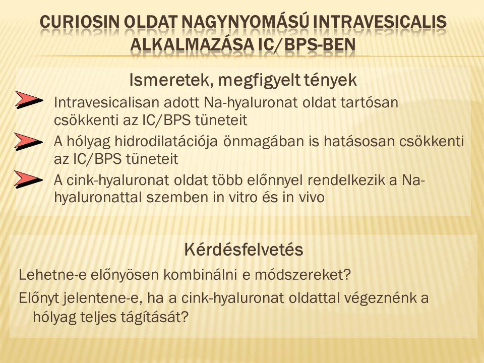Ismeretek, megfigyelt tények  Intravesicalisan adott Na-hyaluronat oldat tartósan csökkenti az IC/BPS tüneteit  A hólyag hidrodilatációja önmagában