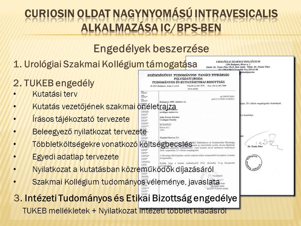 Engedélyek beszerzése 1. Urológiai Szakmai Kollégium támogatása 2. TUKEB engedély Kutatási terv Kutatás vezetőjének szakmai önéletrajza Írásos tájékoz