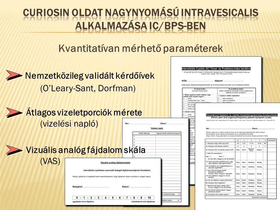Kvantitatívan mérhető paraméterek Nemzetközileg validált kérdőívek (O'Leary-Sant, Dorfman) Átlagos vizeletporciók mérete (vizelési napló) Vizuális analóg fájdalom skála (VAS)