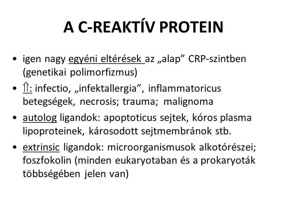 """igen nagy egyéni eltérések az """"alap"""" CRP-szintben (genetikai polimorfizmus)  : infectio, """"infektallergia"""", inflammatoricus betegségek, necrosis; trau"""