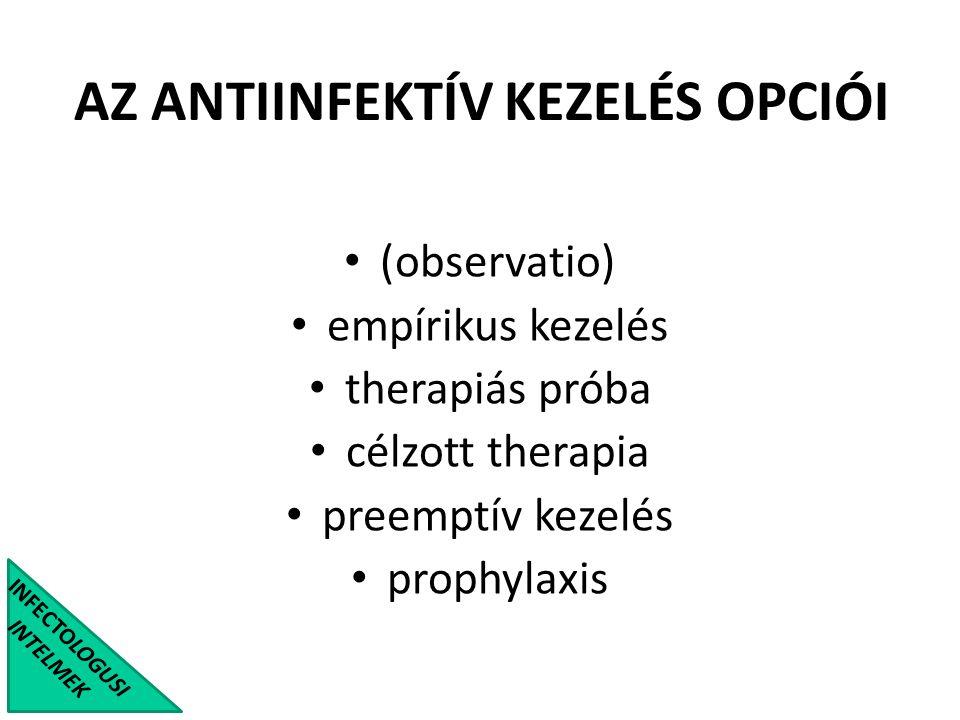 INFECTOLOGUSI INTELMEK AZ ANTIINFEKTÍV KEZELÉS OPCIÓI (observatio) empírikus kezelés therapiás próba célzott therapia preemptív kezelés prophylaxis
