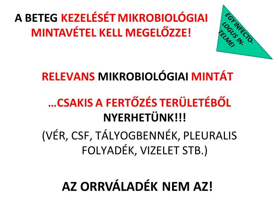 EGY INFECTO- LOGUS IN- TELMEI …CSAKIS A FERTŐZÉS TERÜLETÉBŐL NYERHETÜNK!!! (VÉR, CSF, TÁLYOGBENNÉK, PLEURALIS FOLYADÉK, VIZELET STB.) RELEVANS MIKROBI