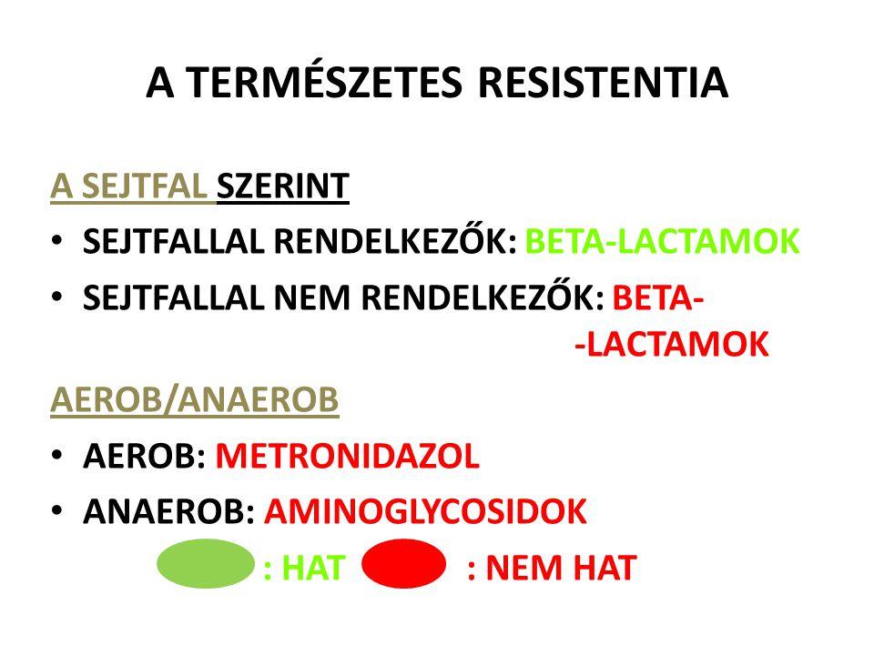 A TERMÉSZETES RESISTENTIA A SEJTFAL SZERINT SEJTFALLAL RENDELKEZŐK: BETA-LACTAMOK SEJTFALLAL NEM RENDELKEZŐK: BETA- -LACTAMOK AEROB/ANAEROB AEROB: MET