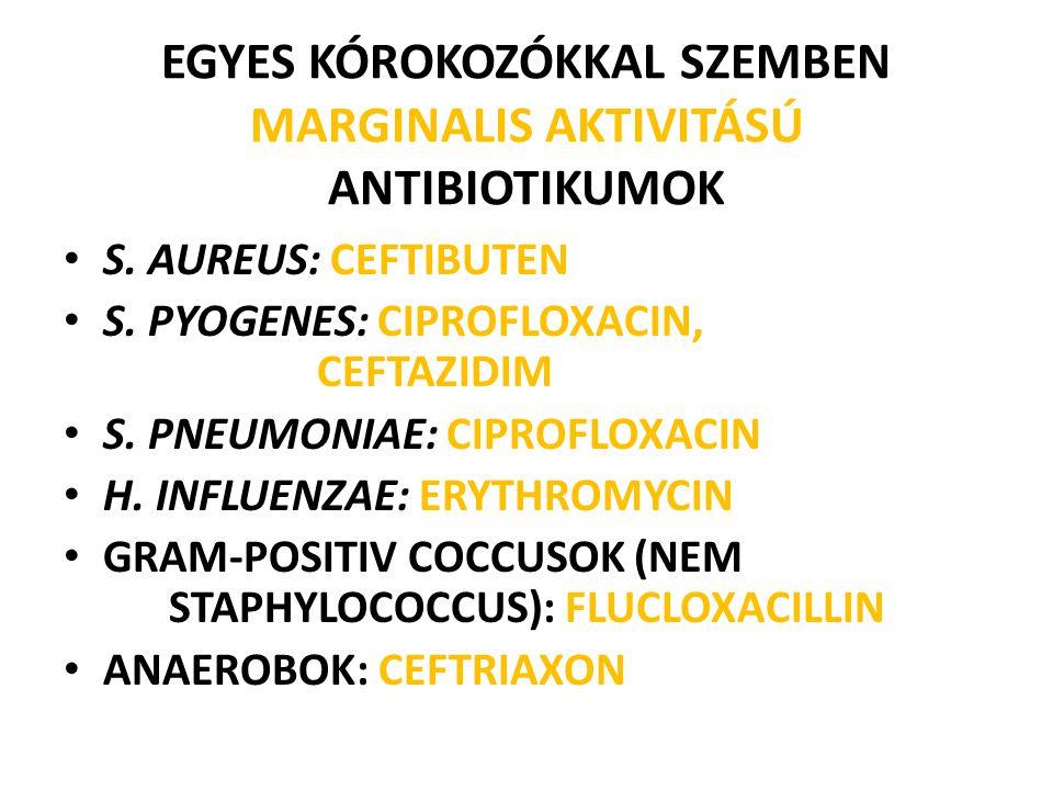 EGYES KÓROKOZÓKKAL SZEMBEN MARGINALIS AKTIVITÁSÚ ANTIBIOTIKUMOK S. AUREUS: CEFTIBUTEN S. PYOGENES: CIPROFLOXACIN, CEFTAZIDIM S. PNEUMONIAE: CIPROFLOXA