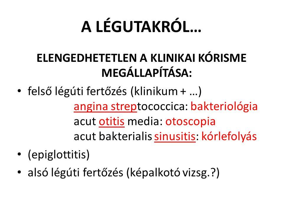 A LÉGUTAKRÓL… ELENGEDHETETLEN A KLINIKAI KÓRISME MEGÁLLAPÍTÁSA: felső légúti fertőzés(klinikum + …) angina streptococcica: bakteriológia acut otitis m