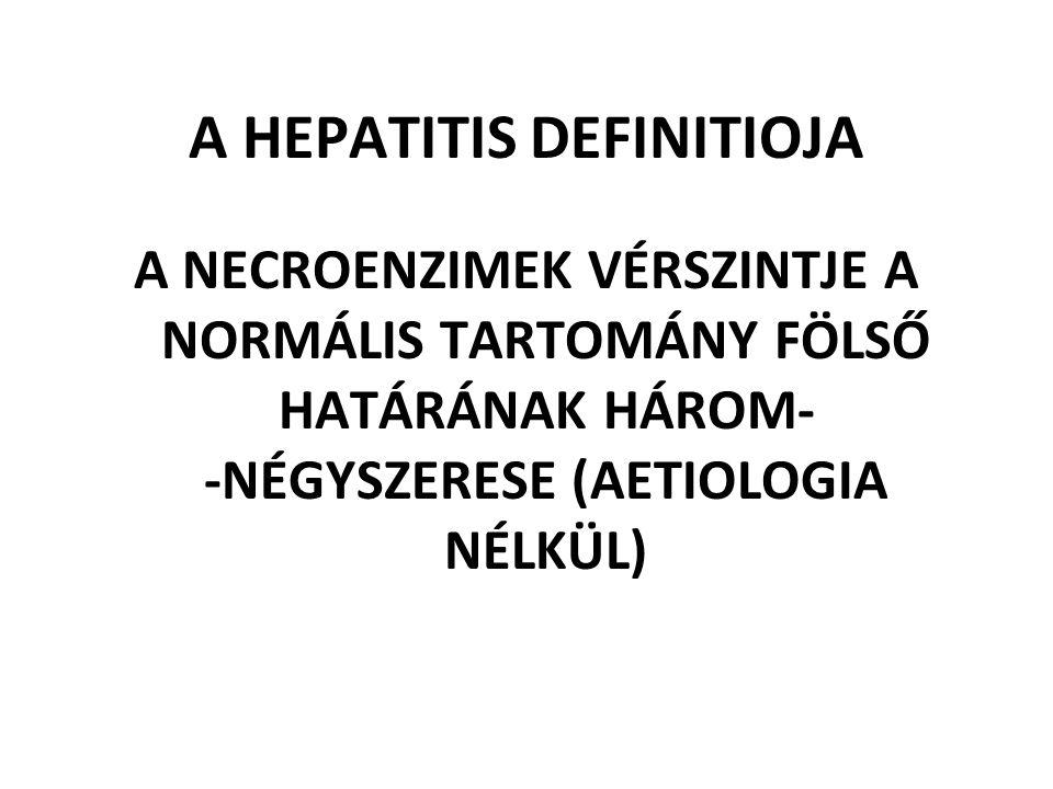 A HEPATITIS DEFINITIOJA A NECROENZIMEK VÉRSZINTJE A NORMÁLIS TARTOMÁNY FÖLSŐ HATÁRÁNAK HÁROM- -NÉGYSZERESE (AETIOLOGIA NÉLKÜL)