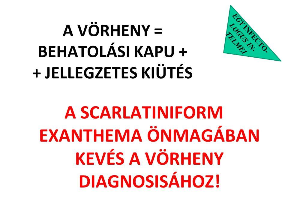 EGY INFECTO- LOGUS IN- TELMEI A SCARLATINIFORM EXANTHEMA ÖNMAGÁBAN KEVÉS A VÖRHENY DIAGNOSISÁHOZ! A VÖRHENY = BEHATOLÁSI KAPU + + JELLEGZETES KIÜTÉS