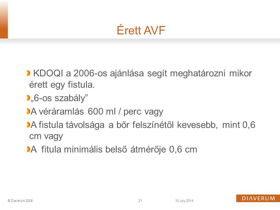 """KDOQI a 2006-os ajánlása segít meghatározni mikor érett egy fistula. """"6-os szabály"""" A véráramlás 600 ml / perc vagy A fistula távolsága a bőr felszíné"""