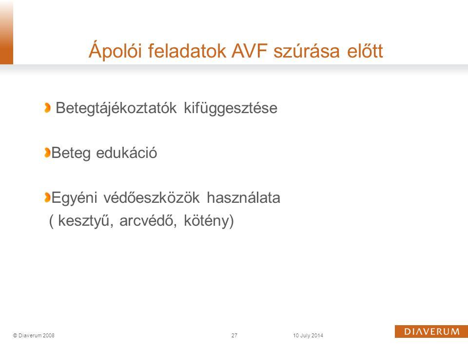 Betegtájékoztatók kifüggesztése Beteg edukáció Egyéni védőeszközök használata ( kesztyű, arcvédő, kötény) Ápolói feladatok AVF szúrása előtt 27© Diave
