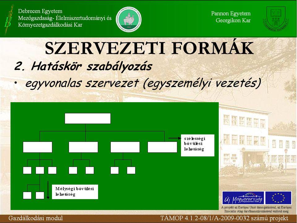 2. Hatáskör szabályozás egyvonalas szervezet (egyszemélyi vezetés)