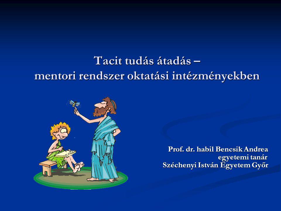 Tacit tudás átadás – mentori rendszer oktatási intézményekben Prof. dr. habil Bencsik Andrea egyetemi tanár egyetemi tanár Széchenyi István Egyetem Gy