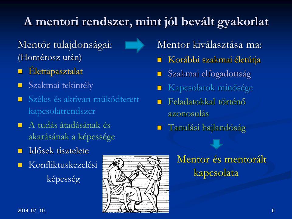 A mentori rendszer, mint jól bevált gyakorlat Mentór tulajdonságai: (Homérosz után) Élettapasztalat Élettapasztalat Szakmai tekintély Széles és aktíva