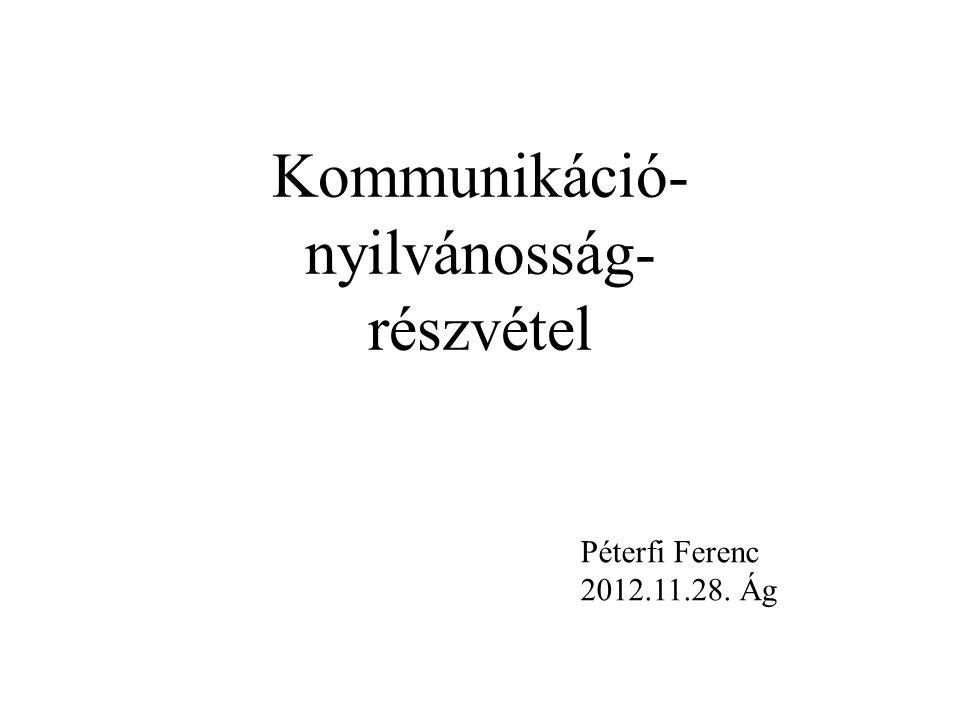 Kommunikáció- nyilvánosság- részvétel Péterfi Ferenc 2012.11.28. Ág