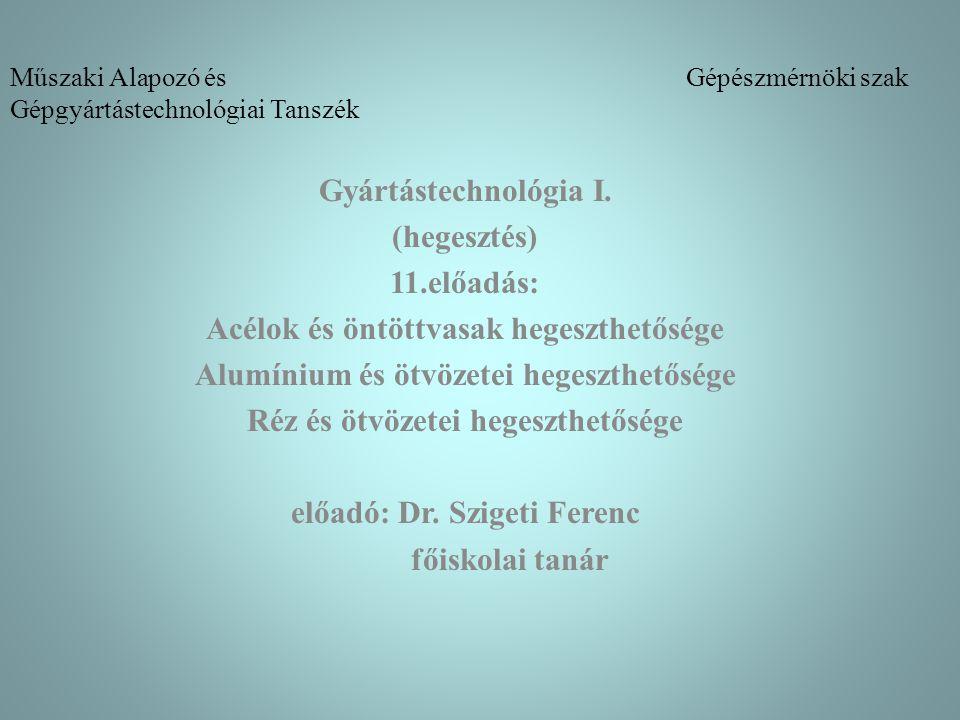 Műszaki Alapozó és Gépészmérnöki szak Gépgyártástechnológiai Tanszék Gyártástechnológia I. (hegesztés) 11.előadás: Acélok és öntöttvasak hegeszthetősé