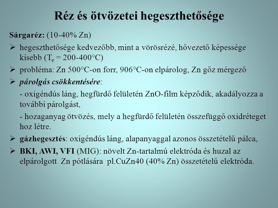 Réz és ötvözetei hegeszthetősége Sárgaréz: (10-40% Zn)  hegeszthetősége kedvezőbb, mint a vörösrézé, hővezető képessége kisebb (T e = 200-400°C)  pr