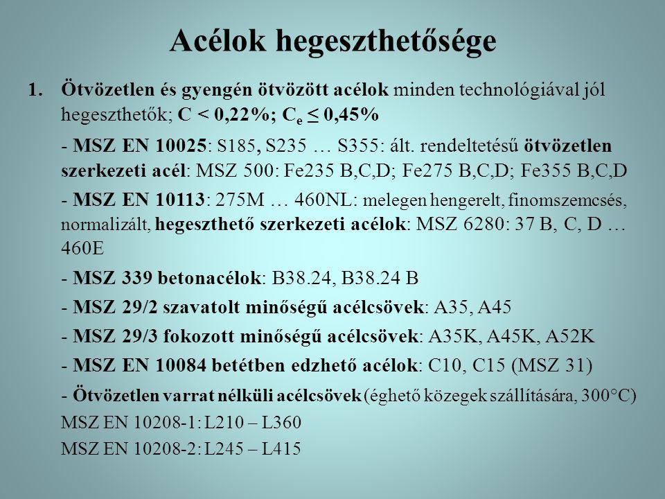 Acélok hegeszthetősége 1.Ötvözetlen és gyengén ötvözött acélok: minden technológiával jól hegeszthetők; C < 0,22%; C e ≤ 0,45%  Általában nem kell előmelegíteni, de ha s > 40 mm; T előmel.