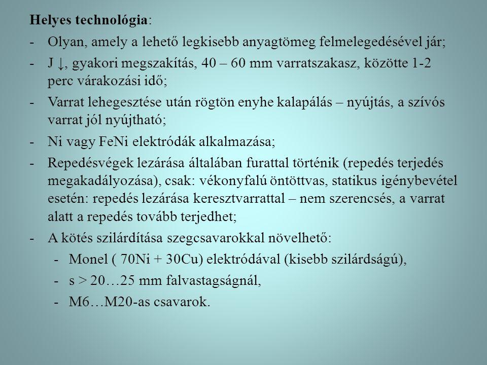 Helyes technológia: -Olyan, amely a lehető legkisebb anyagtömeg felmelegedésével jár; -J ↓, gyakori megszakítás, 40 – 60 mm varratszakasz, közötte 1-2
