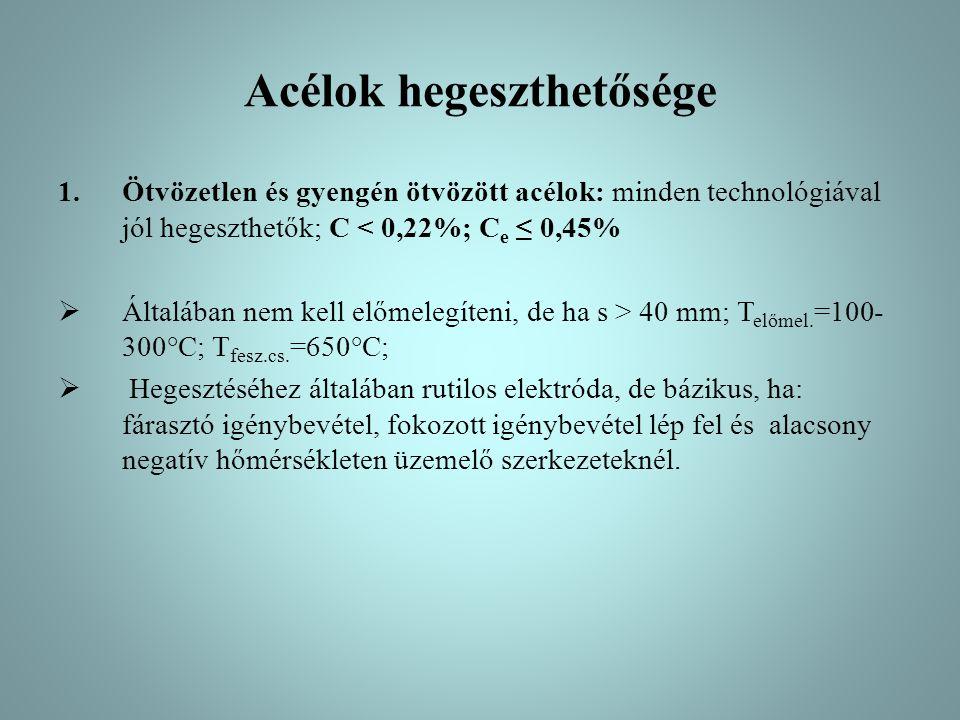 Acélok hegeszthetősége 1.Ötvözetlen és gyengén ötvözött acélok: minden technológiával jól hegeszthetők; C < 0,22%; C e ≤ 0,45%  Általában nem kell el