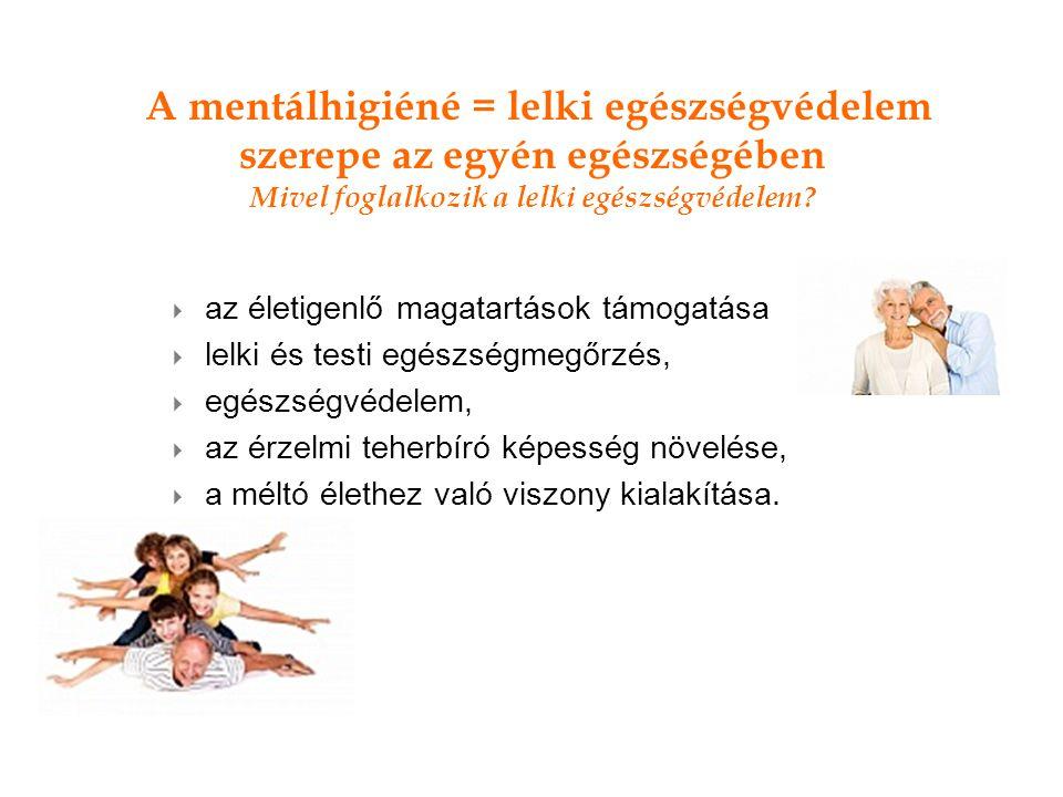 A mentálhigiéné = lelki egészségvédelem szerepe az egyén egészségében Mivel foglalkozik a lelki egészségvédelem.