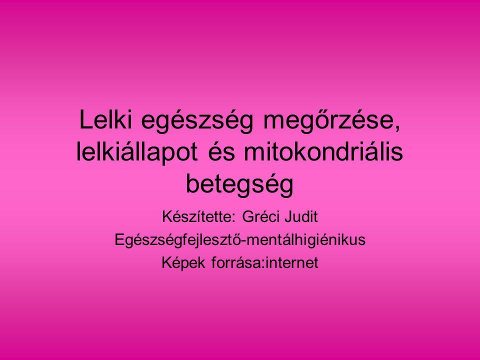 Lelki egészség megőrzése, lelkiállapot és mitokondriális betegség Készítette: Gréci Judit Egészségfejlesztő-mentálhigiénikus Képek forrása:internet