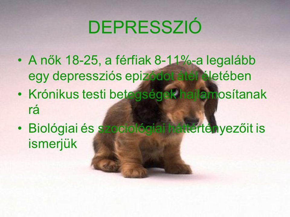 DEPRESSZIÓ A nők 18-25, a férfiak 8-11%-a legalább egy depressziós epizódot átél életében Krónikus testi betegségek hajlamosítanak rá Biológiai és szo