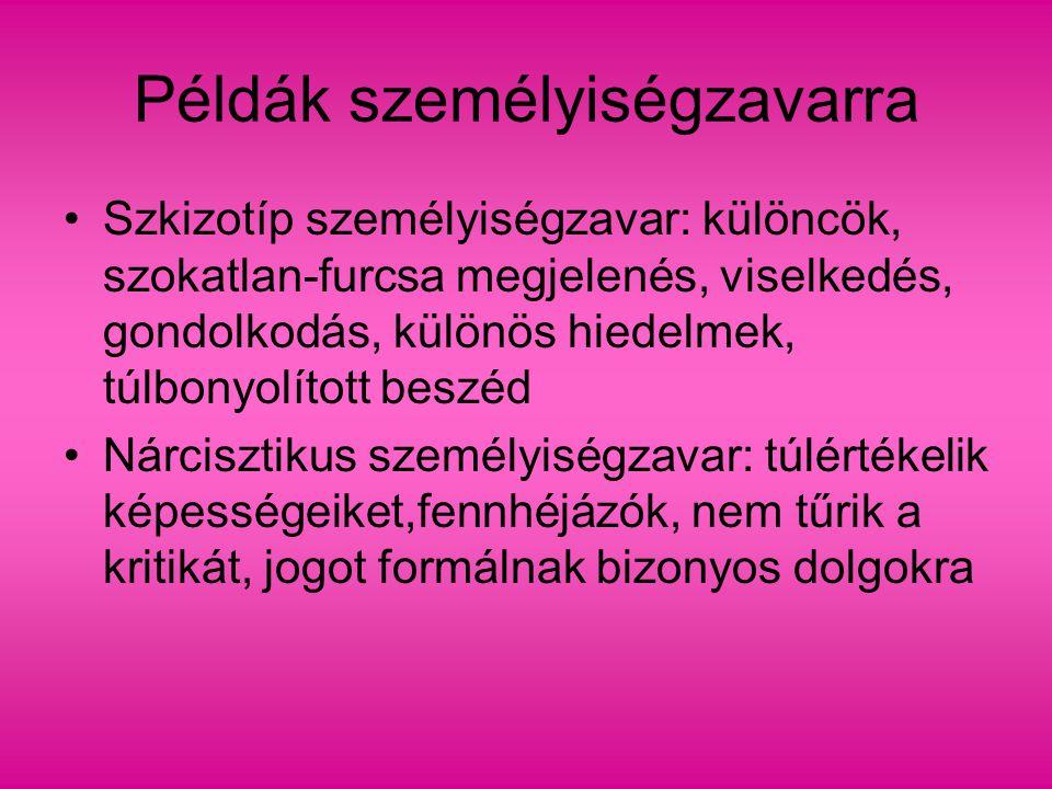 Példák személyiségzavarra Szkizotíp személyiségzavar: különcök, szokatlan-furcsa megjelenés, viselkedés, gondolkodás, különös hiedelmek, túlbonyolítot