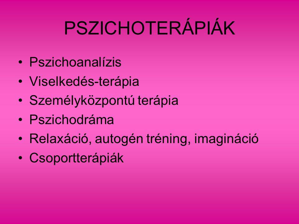 PSZICHOTERÁPIÁK Pszichoanalízis Viselkedés-terápia Személyközpontú terápia Pszichodráma Relaxáció, autogén tréning, imagináció Csoportterápiák