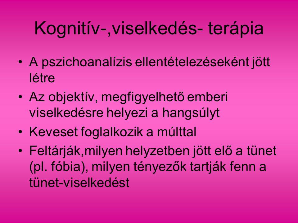 Kognitív-,viselkedés- terápia A pszichoanalízis ellentételezéseként jött létre Az objektív, megfigyelhető emberi viselkedésre helyezi a hangsúlyt Keve