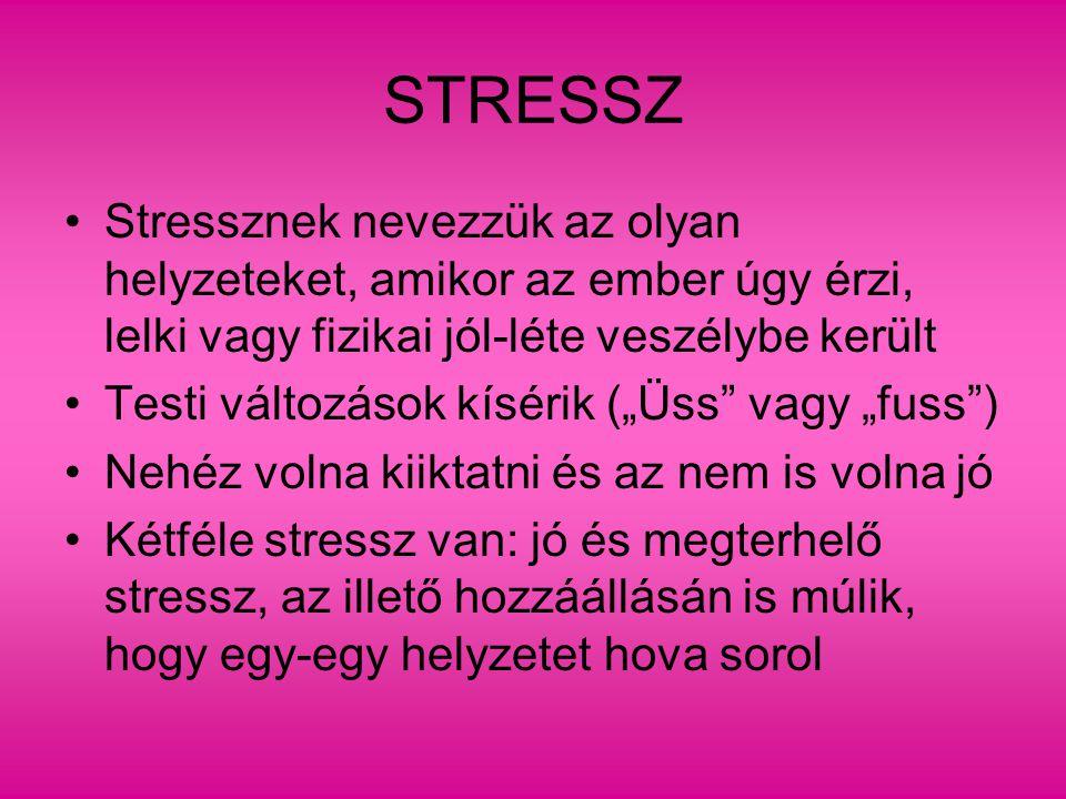 """STRESSZ Stressznek nevezzük az olyan helyzeteket, amikor az ember úgy érzi, lelki vagy fizikai jól-léte veszélybe került Testi változások kísérik (""""Üs"""