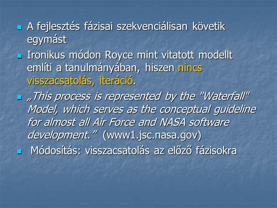 A fejlesztés fázisai szekvenciálisan követik egymást A fejlesztés fázisai szekvenciálisan követik egymást Ironikus módon Royce mint vitatott modellt e