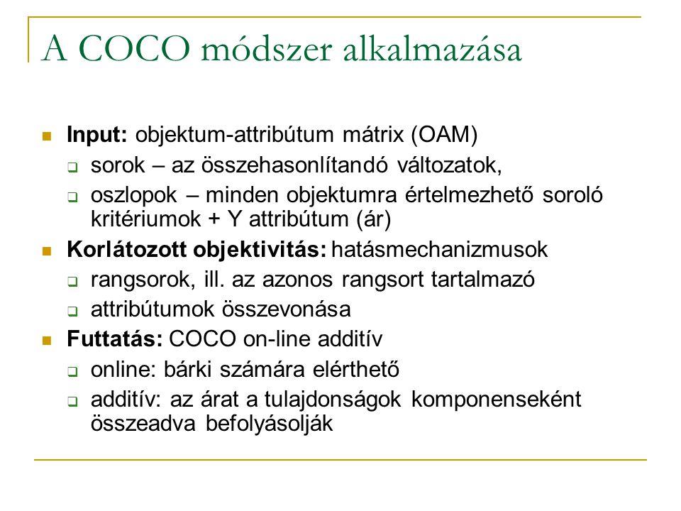 A COCO módszer alkalmazása Input: objektum-attribútum mátrix (OAM)  sorok – az összehasonlítandó változatok,  oszlopok – minden objektumra értelmezhető soroló kritériumok + Y attribútum (ár) Korlátozott objektivitás: hatásmechanizmusok  rangsorok, ill.